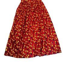 """African Fabric Red & Yellow High Waisted Handmade Maxi Skirt - Waist:32"""" #Handmade #Maxi"""