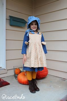 Violette Field Threads Rosemary Pinafore as Laura Ingalls Wilder Costume, Little House on the Prairie fabric, sewing for kids