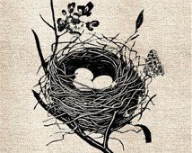 Grungy Birds Nest DiGItal ImaGe TranSFer for BurlAp PilLows ShabBy GrUnGy ScRapBookInG