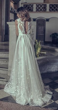 adam zohar 2019 bridal sleeveless illusion jewel straight across neckline heavily embellished bodice hem sheer skirt elegant a  line wedding dress keyhole back short train (2) bv -- Adam Zohar 2019 Wedding Dresses | Wedding Inspirasi #wedding #weddings #bridal #weddingdress #bride ~