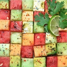 A grid is awesome if you're using firm, cube-friendly fruit like melon. | 16 Ideas For Amazing Fruit Salads