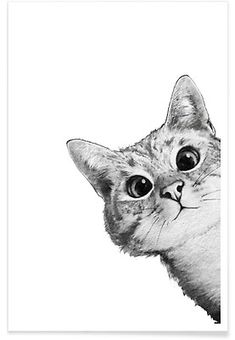 East Urban Home 'Sneaky Cat' Graphic Art Print Size: H x W, Format: White Framed Sneaky Cat, Image Chat, Cat Posters, Art Mural, Cat Drawing, Drawing Ideas, Animal Drawings, Drawing Animals, Drawings Of Cats
