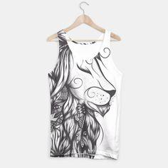 Poetic Lion B&W , More Sexy #art #loujah #moresexy #tanktop #fashion #boho #hipster #mrgugu