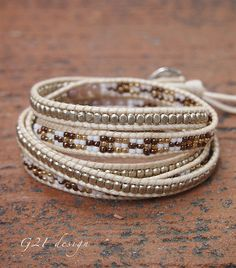 Brown mix Wrap bracelet on cream cord Seed beaded by G2Fdesign