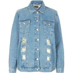 TOPSHOP MOTO Super Rip Denim Jacket ($150) ❤ liked on Polyvore featuring outerwear, jackets, coats, denim, denim jacket, mid stone, blue jean jacket, denim jackets, distressed denim jacket and distressed jean jacket