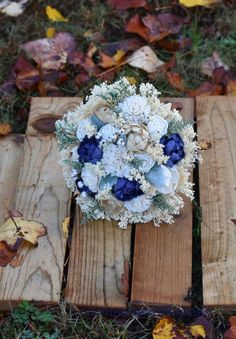 Navy Champagne Bouquet Wedding Bouquet by CountryWesternBlooms