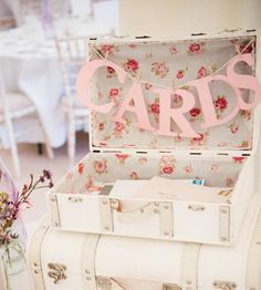 Vintage style suitcase for wedding cards