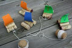 Sailing boats made with cork -