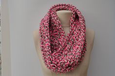 Long chunky crocheted cowl - pink/grey/white by DaisyElizaDesigns on Etsy