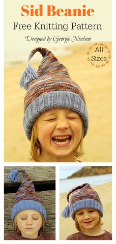 Sid Beanie Free Knitting Pattern - Knitting For Kids Knitted Hats Kids, Knitting For Kids, Easy Knitting, Loom Knitting, Crochet Hats, Kids Hats, Knitting Hats, Knitting And Crocheting, Kids Beanies