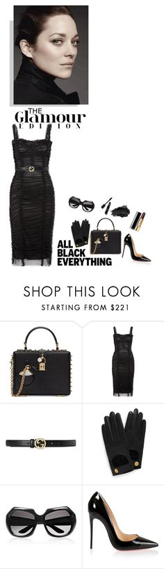 """""""Darling, I'm a lady...a dark, twisted one; but still a lady."""" by iriadna ❤ liked on Polyvore featuring Dolce&Gabbana, Gucci, Mulberry, Yves Saint Laurent, Christian Louboutin, Urban Decay, Chanel, DateNight, monochrome and LBD"""