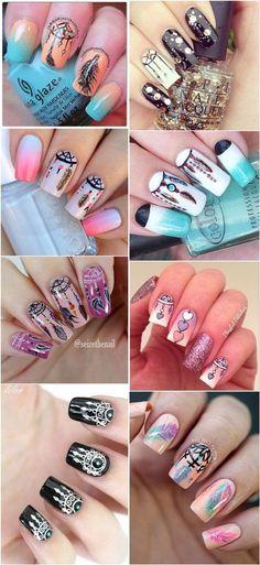 Boho dreamcatcher nail art ideas - meet the best you nails d Cute Nail Art, Nail Art Diy, Diy Nails, Cute Nails, Pretty Nails, Pretty Nail Designs, Nail Art Designs, Diy Ongles, Dream Catcher Nails