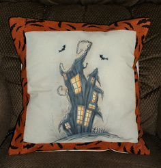 Hand Painted Halloween Pillow Cover - Haunted  House Painting