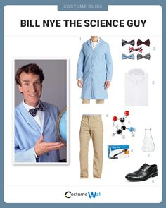 The best costume guide for dressing like Bill Nye, the humorous bow tie wearing scientist that hosted Bill Nye the Science Guy on PBS. Teacher Halloween Costumes, Halloween Science, Halloween Cosplay, Halloween Ideas, Halloween 2017, Science Guy, Science Experiments Kids, Science For Kids, Spirit Science