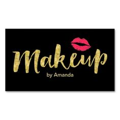 Makeup Artist Gold Script Modern Kiss Double-Sided Standard Business Cards (Pack Of 100)