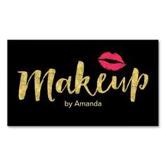 Makeup Artist Gold Script Modern Kiss Double-Sided Standard Business Cards (Pack Of 100)
