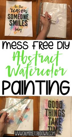 Bored during quarantine? Here's a fun messy free abstract watercolor painting DIY to do with kids in the house!