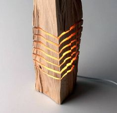 California Cedar Wood Lamp: Some wood and light! The designer based in Los Angeles, Paul Foeckler, made a series of wood lamps and sculptures, California cypres Wooden Floor Lamps, Wooden Lamp, Wood Floor, Light Art, Lamp Light, Cypress Wood, Luz Led, Wood Sculpture, Beautiful Patterns