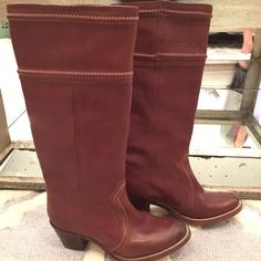 FRYE Jane Boots Worn only once. Literally like new. Gorgeous boots, impeccable condition. Redwood Jane style. Purchased the week of arrival at Nordstrom last winter. Frye Shoes