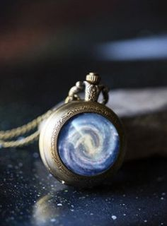 Antique Bronze Galaxy Pocket Watch Necklace