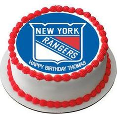 New York Rangers Edible Birthday Cake Topper OR Cupcake Topper, Decor - Edible Prints On Cake (Edible Cake &Cupcake Topper)