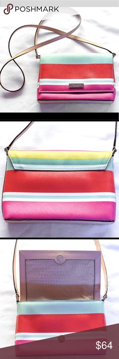Kate Spade Multicolor Crossbody Bag I love all the colors on this bag! I actually hate that I've listed it for sale but need to pay for my new car brakes   It's a very short strap for a  crossbody but that's how I used it because that's my favorite way to carry.  However, it may be better as a long shoulder bag.  Im confident you'll find the option that suits you!  It's the perfect size for a phone, lip gloss, gum and all your cards.  What more does a girl really need? kate spade Bags…