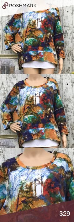 Impressionist Multicolored Top Impressionist Multicolored Top Like New Size Large Jersey Fabric  Built in white accent ltee Great impressionistic painting feel Love ❤️ Chelsea & Theodore Tops