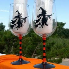 Witches Brew Halloween hand painted wine by GlassesbyJoAnne, $30.00