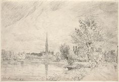 Salisbury Cathedral from the West, 1829, by John Constable, pencil