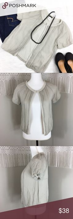 J.Crew Cara Chiffon Cardigan J.Crew Clara chiffon cardigan in grey. Size extra small. Approximate measurements flat laid are 21' long and 16' bust. GUC with one small light marking. Will most likely come out not extremely noticeable please see picture. ❌No trades ❌ Modeling ❌No PayPal or off Posh transactions ❤️ I 💕Bundles ❤️Reasonable Offers PLEASE ❤️ J. Crew Sweaters Cardigans
