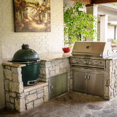 Backyard Grill Area Big Green Eggs 54 Ideas For 2019 Outdoor Kitchen Patio, Outdoor Kitchen Countertops, Outdoor Kitchen Design, Outdoor Living, Outdoor Kitchens, Big Green Egg Outdoor Kitchen, Kitchen Counters, Green Kitchen, Homey Kitchen
