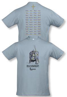 Camiseta serie caballeros: Asturorum Regnum. Diseñada por Escobar.