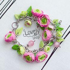 Flowers bracelet Ranunculus bracelet Polymer clay by WowLovelyShop