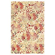Vasanta Floral Rug  Clearance $99.98  Orig. $299.95    The vibrant sophisticated print of our Vasanta Floral Rug will step things up a bit when it comes to decorating a room.     Colors: Ketchup, Mosstone, Sand  Size: 5'W x 8'L  Made of cotton and wool  Exclusively Pier 1 Imports