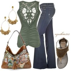 A fashion look from April 2012 featuring MOTHER DENIM jeans, Diba sandals and Jenny Bird earrings. Browse and shop related looks.