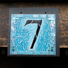 Colorful Sky Blue Mosaic House Number on Slate 1 Digit by nutmegdesigns on Etsy