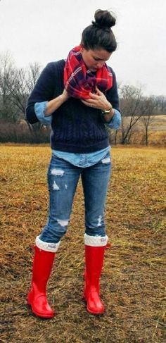 Cold weather outfit fashion with rain boots