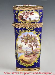 South Staffordshire Enameled Etui Sewing Kit; Circa 1770.