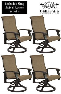 Heritage Outdoor Living Cast Aluminum Barbados Sling Outdoor Patio Swivel Rocker - Antique Bronze Finish - Set of 4. 15-Year Frame Warranty - Heritage Outdoor Living products are sold through our Exclusive Amazon.com Retail Partner - Patio Import. Fully Welded, Solid Cast Aluminum Construction is 100% Rust Free!. Masterfully Crafted To Combine Comfort, Elegance, & Quality. Five Stage Powder Coated Finish is the Toughest in the Outdoor Furnishings Industry - Antique Bronze Finish.