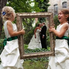 Creative wedding photography idea.  Let's use the twins!