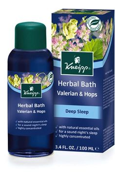 Kneipp Herbal Bath Valerian & Hops Sweet Dreams Bath Oil, $20 at Amazon - Pour a capful of the cobalt-blue-hued oil into a hot bath and take deep breaths as you enter a progressively more catatonic state. The oil combines valerian and hops (the flavoring agent in beer), which are both natural sleep aids. It smells like an invigorating yet peaceful blend of lemon and lavender, and it colors your bathwater — but not your skin — a pleasing shade of sapphire blue.