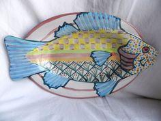 Mackenzie Childs Blue Fish Platter Dish Wall Hanging Pottery serving plate mint Fish Platter, Pretty Fish, Fish Wall Art, My Spirit Animal, Serving Plates, Beach House, Pottery, Dishes, Blue