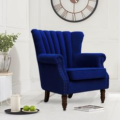 Blue Scalloped Top Upholstery Wingback Armchair - Living and Home Wingback Armchair, Blue Armchair, Green Wing, Contemporary Armchair, Scatter Cushions, Home Living Room, Accent Chairs, Upholstery, Dining Chairs