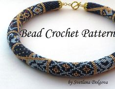 Pattern for bead crochet necklace Gold monogram by DolgovaSvetlana Crochet Necklace Pattern, Bead Crochet Patterns, Beaded Necklace Patterns, Bead Crochet Rope, Crochet Designs, Bracelet Patterns, Beading Patterns, Beaded Crochet, Jewelry Patterns