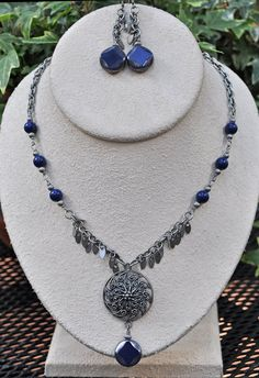 Antique Silver and Dark Blue Necklace and by JewelryArtByGail - SOLD