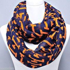 "orange fashion scarves | Navy Blue and Orange Printed 45"" x 68"" Infinity Fashion Scarf | eBay"
