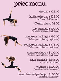This would be a good template for studio class pricing