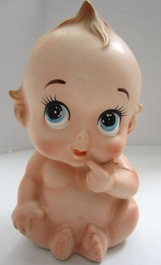 Vintage Kewipie Head Vase c. 1950..Vintage Kewpie Baby large planter: Lefton , Japan.  7 in tall.aprox 4 in around, opening is aprox 2 1/2 inches