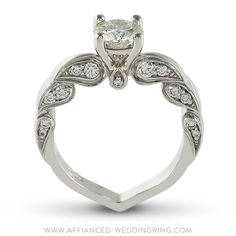 Uniquely designed white gold engagement ring decorated with center diamond 24 pcs small diamonds. Handmade Engagement Rings, Diamond Engagement Rings, Solitaire Ring, Diva, Fine Jewelry, Diamonds, White Gold, Stone, Unique