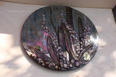 Wandplatte - Wandteller -Rund Blumen    RUSCHA ART    Pop Art - 60/70er Jahre